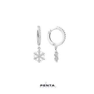 Penta Silver - Zirkon Taşlı Sallantı Kar Tanesi Gümüş Küpe (1)