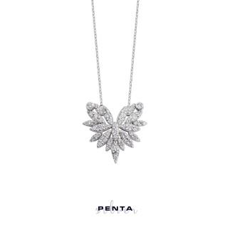 Penta Silver - Zirkon Yaprak Gümüş Kolye (1)