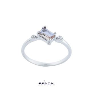Penta Silver - Zultanit Baget Taşlı Gümüş Yüzük