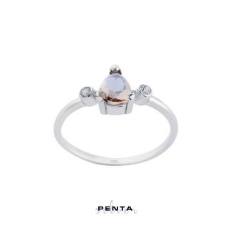 Penta Silver - Zultanit Damla Taşlı Gümüş Yüzük