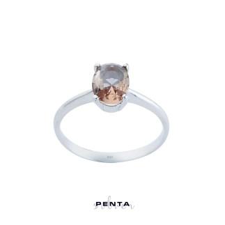 Penta Silver - Zultanit Dört Tırnak Oval Gümüş Yüzük (1)