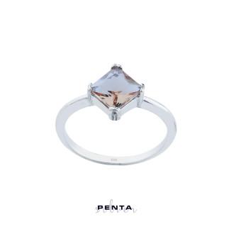Penta Silver - Zultanit Kare Dört Tırnak Gümüş Yüzük
