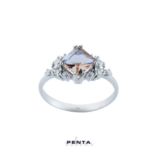 Penta Silver - Zultanit Prenses Kesim Gümüş Yüzük