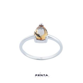 Penta Silver - Zultanit Üç Tırnak Damla Gümüş Yüzük