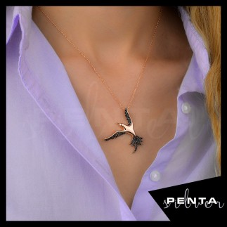Penta Silver - Zümrüd-ü Anka Kuşu Gümüş Kolye (1)